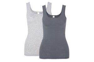 Doppelpack Unterhemd Achselträger grau/anthrazit - comazo|earth