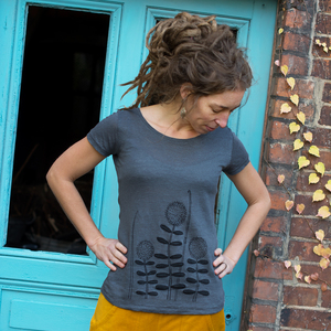 Waldblumen T-Shirt aus Leinen grau - Cmig