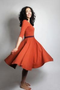 Kleid 'Vrida' rost/ aubergine, GOTS zertifiziert - Frija Omina