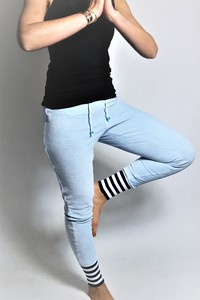 Bio Nickihose hellblau / Streifen/ Perle blau - Frija Omina