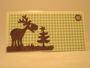 Weihnachts-Grußkarte 'Karolinchen', Geschenkkarte mit Feinholz Aufstellmotiv Rentier - designimdorf