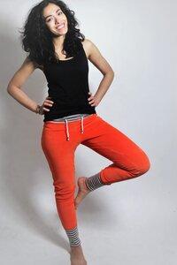 Bio Nickihose orange / cinder Streifen/ Perle  - Frija Omina