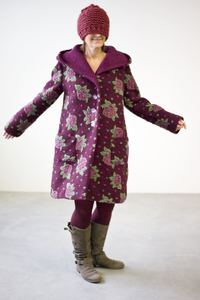 Lässiger Woll-Mantel mit gefilzten Blumen mit großer Kapuze in A-Form - Johanna Binger