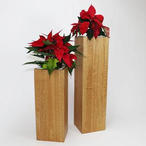 Pflanzsäulen Set Eiche Vollholz 70, 50 cm hoch, Seitenmaß ca. 17x17 cm - GreenHaus