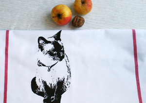 Fair-Trade-Geschirrtuch 'Katze' weiß - Hirschkind