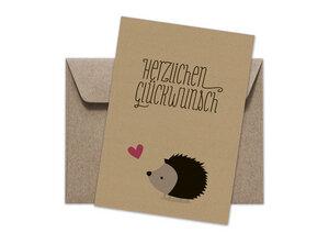 Postkarte + Umschlag | Igel Glückwünsche - Ökotussi