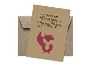 Postkarte + Umschlag | Fuchs Glückwünsche - Ökotussi