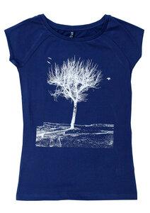 Bio-& Fair-Trade-Frauenshirt 'Platane' dunkelblau - Hirschkind