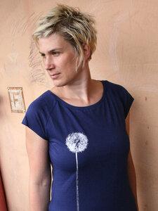 Bio-& Fair-Trade-Frauenshirt 'Pusteblume' dunkelblau - Hirschkind