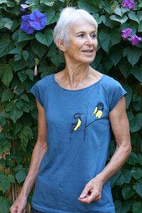 Bio-& Fair-Trade-Frauenshirt 'Kohlmeisen' blau - Hirschkind