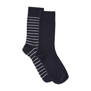Fine Socks 2 Pack - blau/weiß gestreift - KnowledgeCotton Apparel