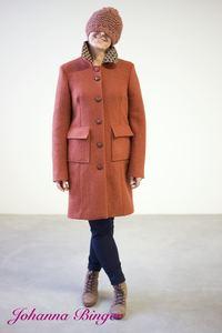 Anjali, zimt Schurwollwalkmantel, tailliert, recycelte Lederknöpfen - Johanna Binger natürlich weiblich
