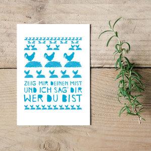 """Postkarte """"Zeig mir Deinen Mist und ich sage Dir wer Du bist""""  - Parzelle43"""