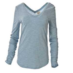 schickes Langarmshirt in jade-blau mit V-Neck - People Wear Organic