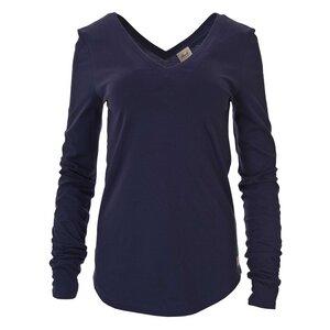 schickes Langarmshirt in dunkelblau mit V-Neck - People Wear Organic