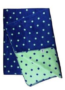 Wohn- und Kinder Decke Punkte blau Bio Baumwolle - Richter Textilien