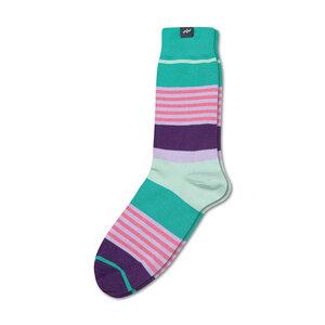 Bunte gestreifte Socken aus Bio-Baumwolle für Männer und Frauen - Grün / Violett / Denim - MINGA BERLIN
