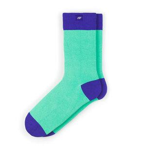 Bunte color block Socken aus Bio-Baumwolle für Männer und Frauen - Blau - MINGA BERLIN
