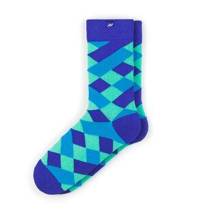 Bunte karierte Socken aus Bio-Baumwolle für Männer und Frauen - Blau - MINGA BERLIN