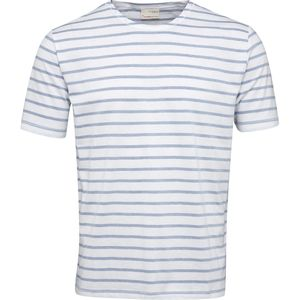Jacquard Striped Tee - Placid Blue - KnowledgeCotton Apparel