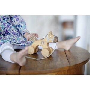 Nachziehspielzeug aus Holz, blau Pferdchen - vennligetreleker.no