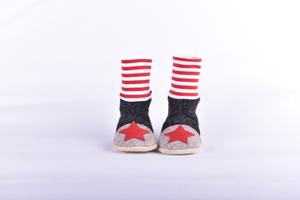 Gr. 18/19 Wollwalkschuhe Babypatschen mit hohem Bündchen, Ledersohle  - Süßstoff