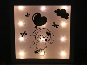 ♥ Beleuchteter Bilderrahmen ♥ Nachtlicht ♥ Buddelhase - Sternchenwolke