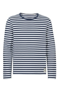 Mens Longsleeve navy weiß gestreift - recolution