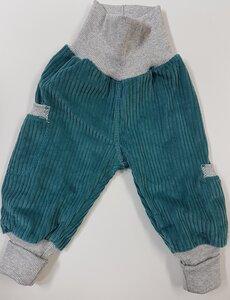 Kinder-/Baby-Mitwachshose aus petrolfarbenen Breitcord mit Taschen  - Omilich