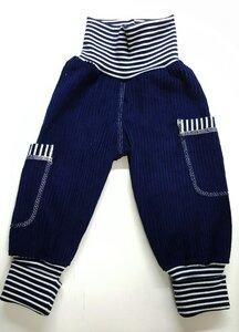 Kinder-/Baby-Mitwachshose aus dunkelblauem Breitcord mit Taschen  - Omilich