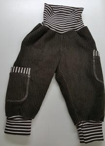 Kinder-/Baby-Mitwachshose aus dunkelbraunem Breitcord mit Taschen  - Omilich