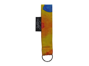 Schlüsselband Sommer Blumen gelb aus Stoff, Upcycling Leesha Design - Leesha