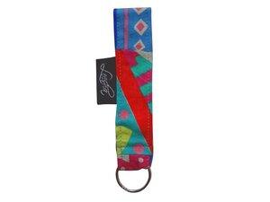 Schlüsselband Zick Zack bunt aus Stoff, Upcycling Leesha Design - Leesha