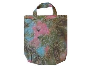 Einkaufstasche Moor Blume, Upcycling Stoffbeutel grün rosa von Leesha - Leesha