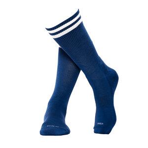 Blaue Sportsocken aus Bio-Baumwolle mit weißen Streifen - MINGA BERLIN