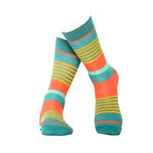 Türkis gestreifte Socken aus Bio-Baumwolle - MINGA BERLIN