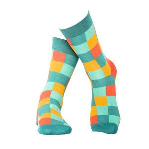 Karierte Socken in türkis aus Bio-Baumwolle  - MINGA BERLIN