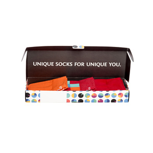 Bunte Socken in Geschenkbox -Orange Rot - MINGA BERLIN