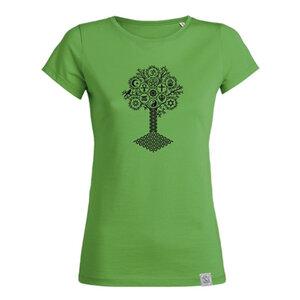 Religionsbaum - Siebdruck T-Shirt W - grün - Sacred Designs