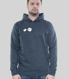 Hoodie Men Dark Heather Denim 'Yeah' - SILBERFISCHER
