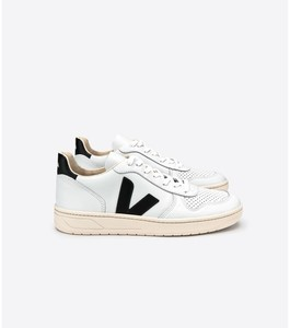 SNEAKER - V-10 LEATHER - EXTRA WHITE BLACK - Veja