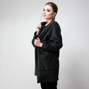 Long Jacket  ALAN black melange - JAN N JUNE