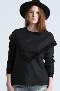 Pullover mit Quasten // Grau - WIEDERBELEBT