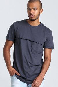 T-Shirt mit Passe // Grau - WIEDERBELEBT