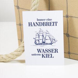 Postkarte Wasser unterm Kiel - Bow & Hummingbird