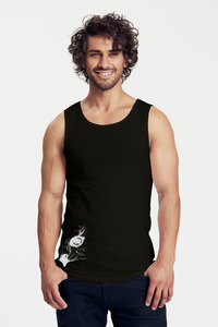 "Bio-Herren-Tank Top ""OwlEye"" - Peaces.bio - Neutral® - handbedruckt"