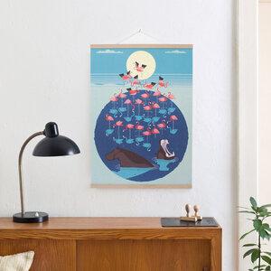 Set / Flamingo Lake + Posterleiste Eiche 50 cm - Kleinwaren / von Laufenberg