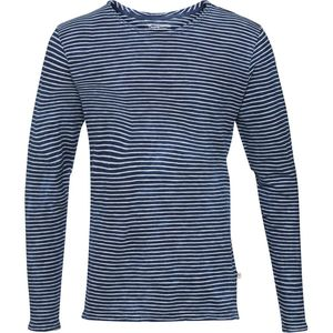 Yarndyed Striped Indigo Longleeve in dunkelblau-weiß gestreift - GOTS  - KnowledgeCotton Apparel