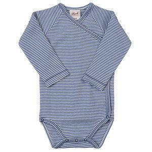 Wickelbody aus Bio-Baumwolle blau geringelt - People Wear Organic