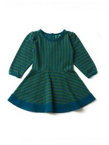 Baby u. Kinder Kleid LA blaugrün geringelt nachhaltig - Little Green Radicals